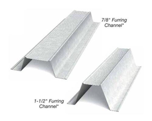 7/8 in x 10 ft x 20 Gauge 33 mil Furring Channel/Hat Channel