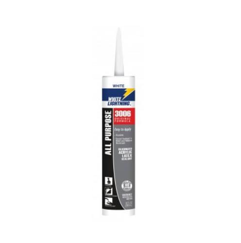 White Lightning Original Formula 3006 White All Purpose Adhesive Caulk - 10 oz Tube