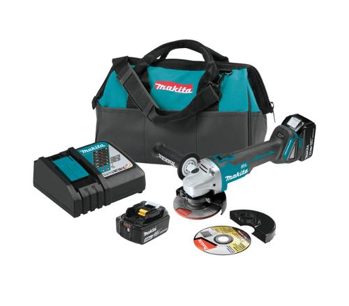 4 1/2 in / 5 in Makita 18V LXT Lithium-Ion Brushless Cordless Cut-Off/Angle Grinder Kit (5.0Ah)