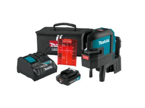 Makita 12V Max CXT Lithium-Ion Cordless Self-Leveling Cross-Line/4-Point Red Beam Laser Kit (2.0Ah)