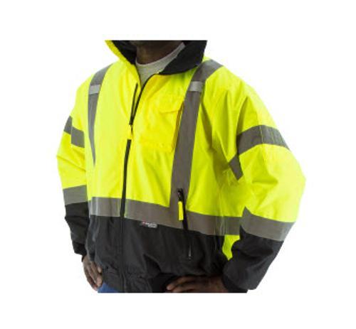 Majestic Glove Hi-Vis Waterproof Yellow Jacket w/ Removable Fleece Liner - Large