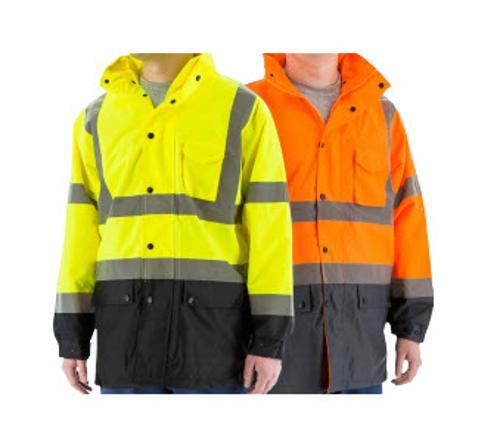 Majestic Glove Hi-Vis Waterproof Orange Rain Jacket w/ Nylon Mesh Liner - XL