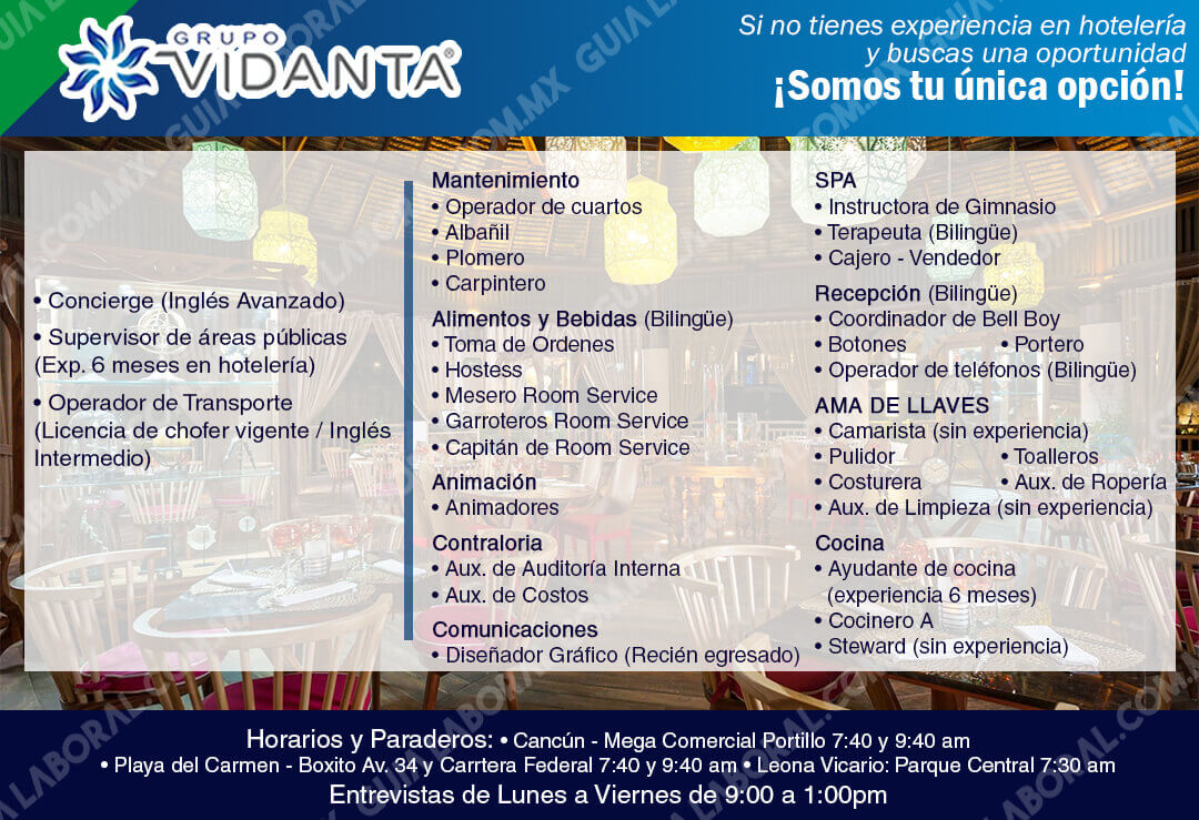 Vacantes Hoteles Grupo Vidanta Riviera Maya 11 Noviembre 2017
