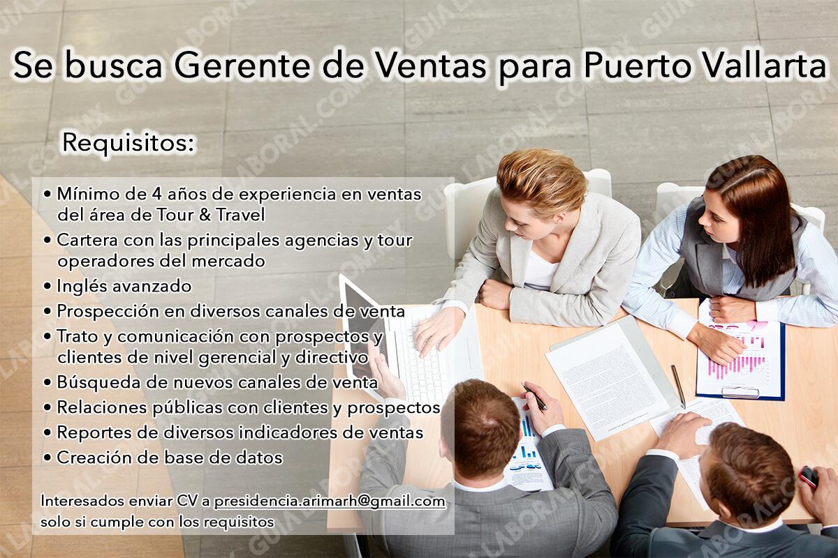 Vacante Gerente de Ventas Puerto Vallarta 23 OCTUBRE 2017