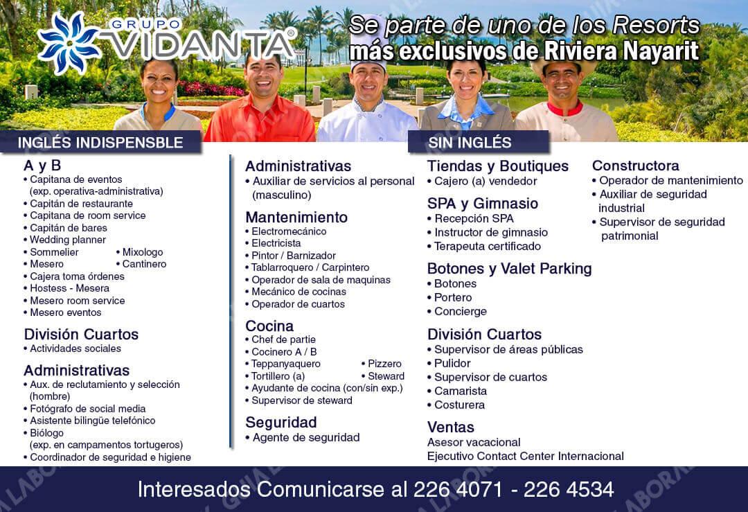 Vacantes Grupo Vidanta Nuevo Vallarta 16 Noviembre 2017