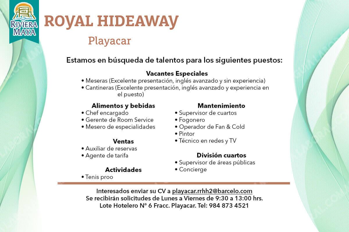 Vacantes Hotel Royal Hideaway Riviera Maya 20 DICIEMBRE 2017