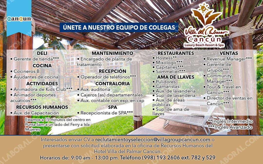 Vacantes Villa del Palmar Cancun 20 DICIEMBRE 2017