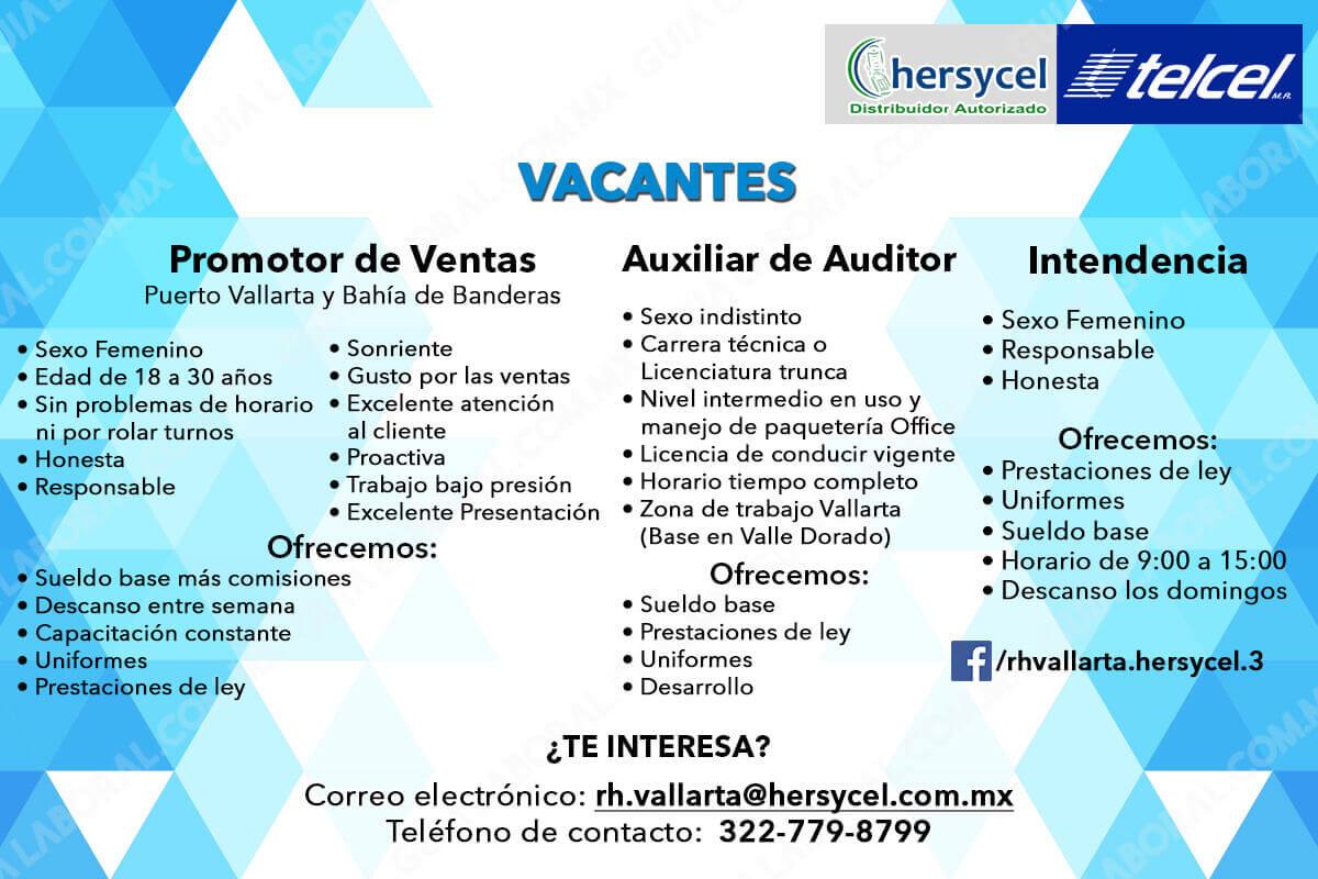 Vacantes Hersycell Puerto Vallarta 11 FEBRERO 2018