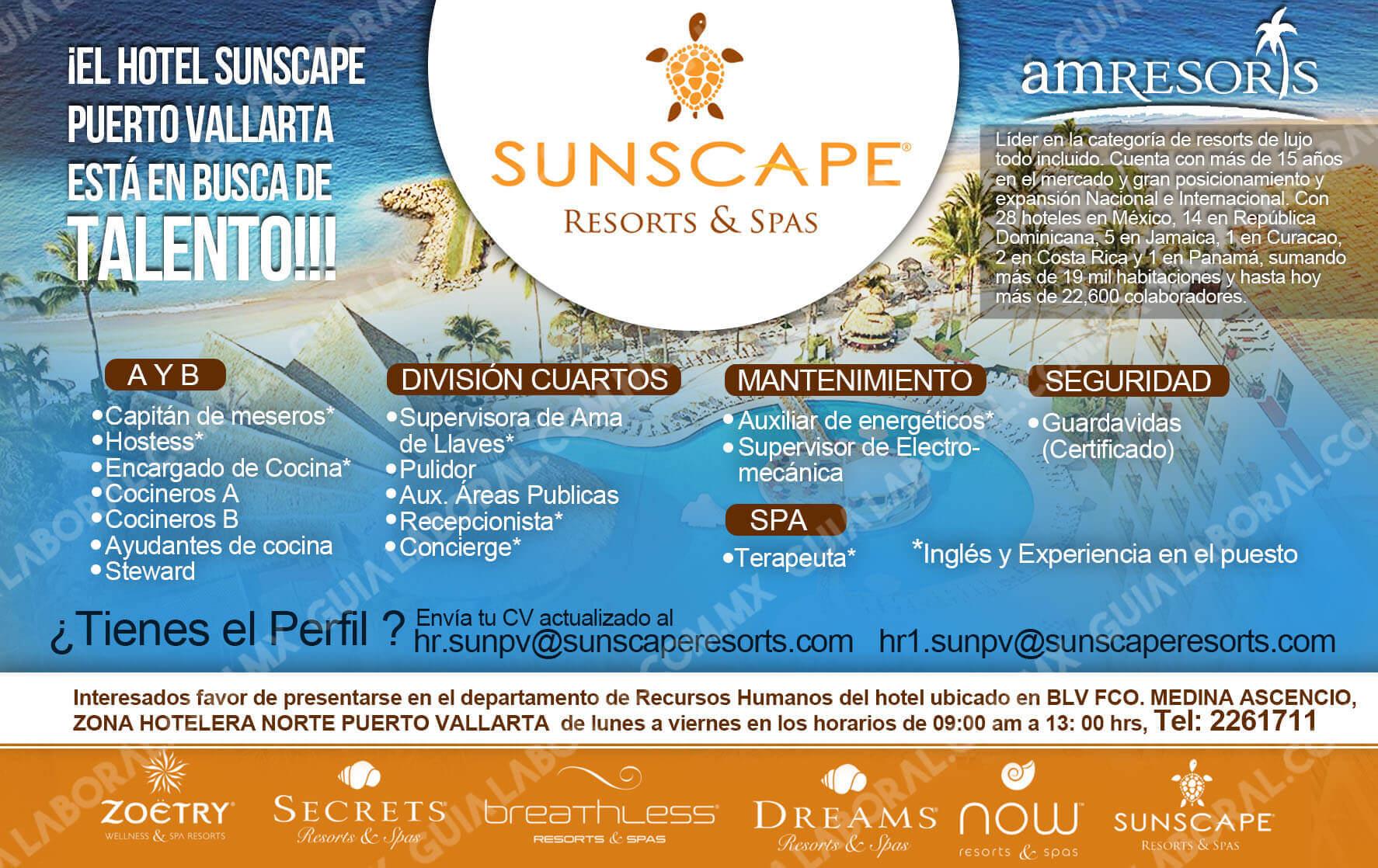 Vacantes Hotel Sunscape Puerto Vallarta 12 ENERO 2018