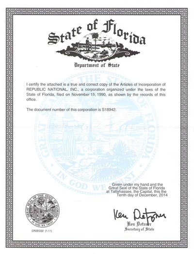 certified copy of articles of organization florida