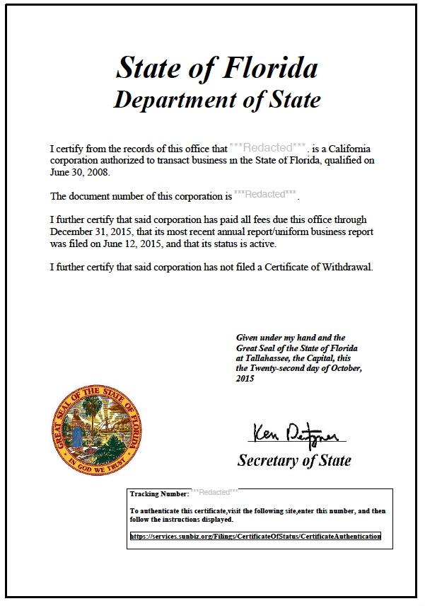 Florida Certificate Of Good Standing Certificate Of