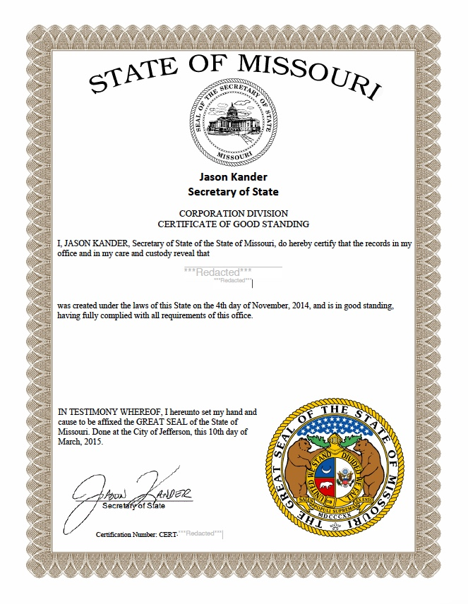 certificate missouri standing sample state existence secretary status compliance obtain corporations master fees quickly organization filing
