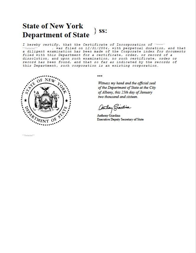 New York Certificate Of Good Standing Certificate Under