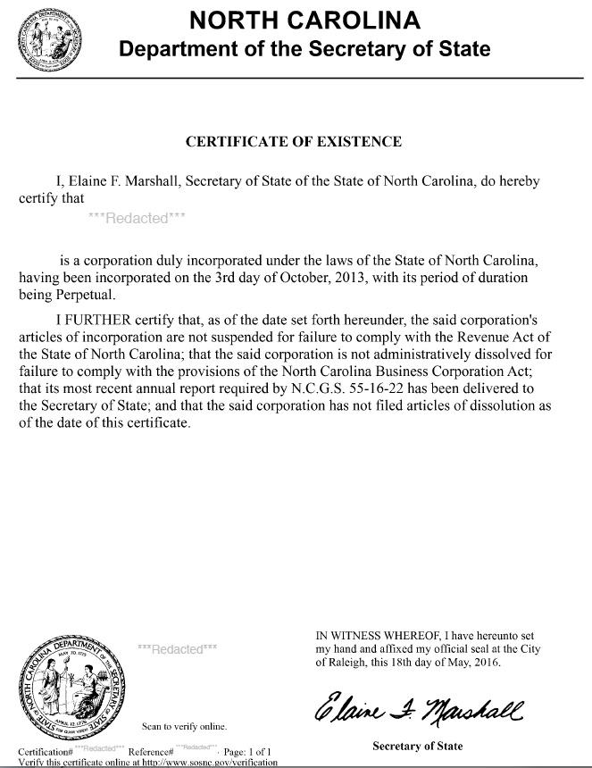South Carolina Certificate Of Good Standing Certificate