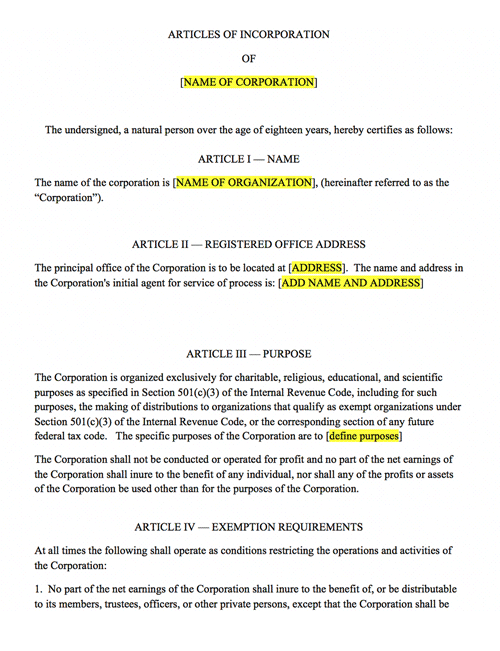 Nonprofit articles of incorporation harbor compliance for Non profit charter template