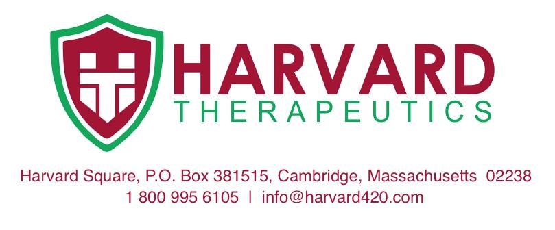 Harvard Square, P.O. Box 381515, Cambridge, Massachusetts 02238 1 800 995 6105 | info@harvard420.com