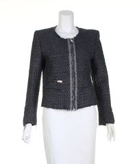 Grey Metallic Textured Jacket of Iro.
