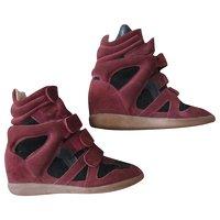 Dark Red, Deerskin Sneakers by Isabel Marant.
