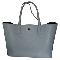 Tory Burch Leather Tote Bag In Turquoise Color
