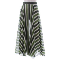 Alaia Skirt Patterned With Cool Tonal Green Stripe