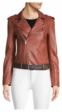 Brick brown Maje leather jacket never worn