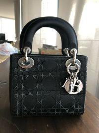 Dior Lady Mini Satin Black Rhinestone Cannage