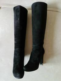 Louis Vuitton Black Suede Knee High Tall Boots 37