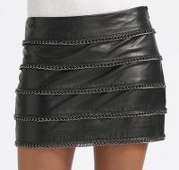 Haute-hippie Black leather mini chain skirt