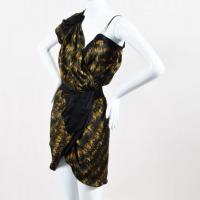 Black Multicolor Ruffled Wrap Dress -Isabel Marant