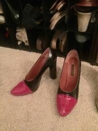 Louis Vuitton Patent Leather Black Red Pumps Heels