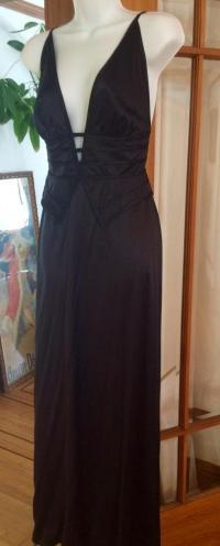 Silk Peplum Plunging V Evening Gown