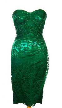 Dolce Gabanna Green Brocade Dress