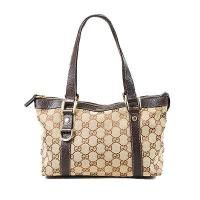 Gucci Brown Monogram Canvas Leather Trim