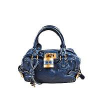 Navy Blue Chloe Leather Satchel