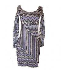 MISSONI COLORFUL CHEVERON PRINT SWEATER DRESS Sz:6