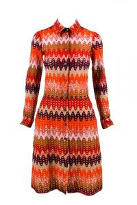 Missoni Red Purple Brown Multicolor Wool Dress