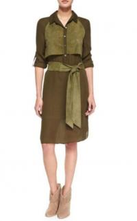 Haute Hippie Two-Tone suede chiffon Belted Dress,