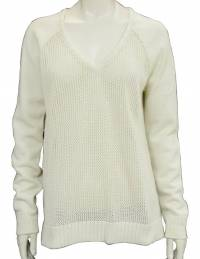 Tibi Cream Open Knit V-Neck Sweater