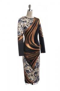 Cutout Back Bodycon Abstract Dress-CLOVER CANYON