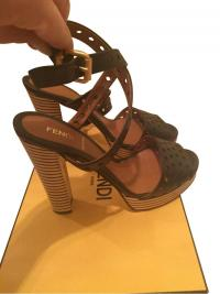 FENDI ANKLE WRAP STRIPED PLATFORM HEEL SANDALS
