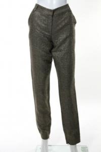 DVF Gold Long Georginne Zip Skinny Pants Size 4