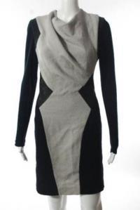 Helmut Lang color block drape dress