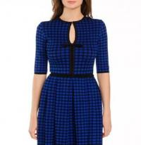 M MISSONI BLUE/BLACK CHECK PRINT KNIT DRESS, US 4