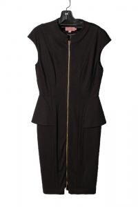 Ted Baker zippered Black Cap peplum sleeve Dress