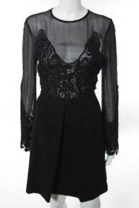Jill Stuart Black Black Illusion Lace Dress