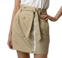 Beige zipper design skirt