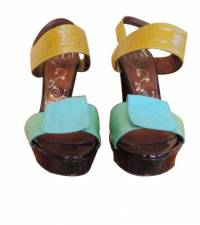 Tibi Bright Color block Sandals