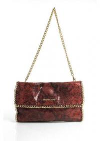 MICHAEL KORS Red Faux Snakeskin Gold Tone Chain