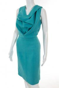 Oscar De La Renta Teal Blue Dress