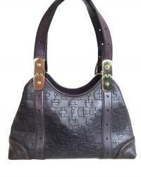 Purple Gucci print embossed leather